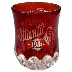 Antique Atlantic City Souvenir Flash Glass Tumbler