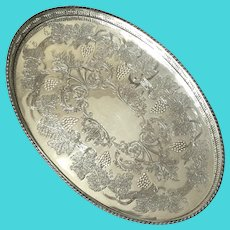 Sheffield Silverplate Oval Gallery Tray