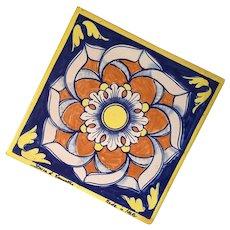 Vintage Signed Italian Pottery Tile Trivet
