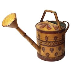 Antique French Painted Toleware Watering Can