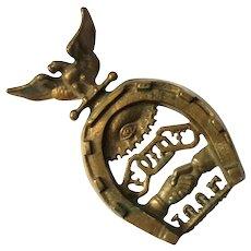 Antique Odd Fellows Masonic Brass Trivet I.O.O.F.