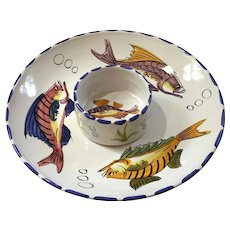 Vietri Italian Pottery Al Mare Chip And Dip Bowl Set