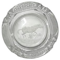 Val St. Lambert Cut And Etched Crystal Ashtray