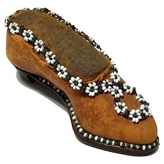 Victorian Beaded Leather Shoe Pin Cushion
