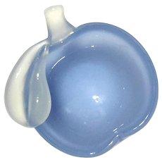 ARCHIMEDE SEGUSO Murano Blue Alabastro Glass Apple Bowl