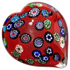 Murano Millefiori Glass Heart Paperweight