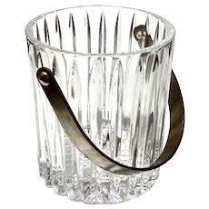 Mid-Century Modern Crystal Ice Bucket With Brass Handle