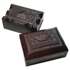 Pair Of Hand-Tooled Leather Boxes
