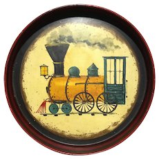 Peter Ompir Polychrome Painted Train Decorated Tole Tray