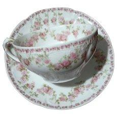 Set Of Twelve GDA Limoges Porcelain Cups And Saucers