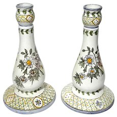 Hand-Decorated Portuguese Faience Candle Holders
