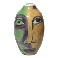 Picasso Style Glazed Earthenware Face Vase