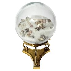 Glass Sphere With Shells On Brass Stand