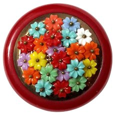 Cherry Bakelite Pin With Multicolored Flowers