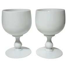 Pair Of PV French White Opaline Wine Glass