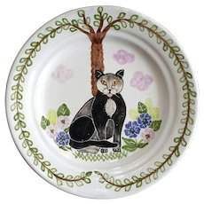 MM Portugal Redware Pottery Cat Plate