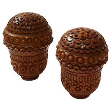 Pair Of Antique Carved Coquilla Nut Salt And Pepper Shakers, Circa 1875