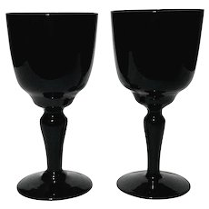 Pair Of PV French Black Opaline Wine Glasses