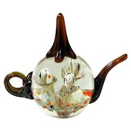 Joe St Clair Art Glass Teapot Paperweight Ring Holder