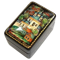 Miniature Signed Russian Lacquer Box