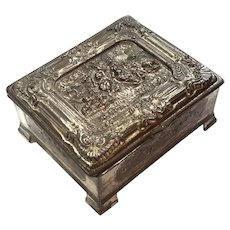 Silverplated Trinket Box With Wooden Interior