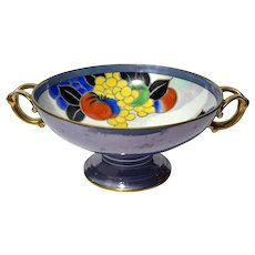 Art Deco Hand-Painted Noritake Lusterware Pedestal Bowl