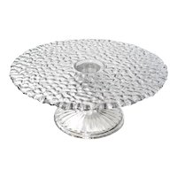 Early American Pattern Glass Triple Mold Pedestal Cake Stand