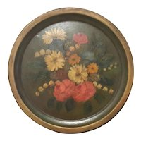 Floral Painted Metal Tole Tray