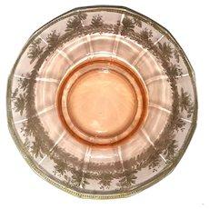 Large Pink Depression Glass Center Bowl