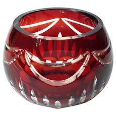Czechoslovakian Bohemian Glass Ruby Cut To Clear Votive Holder
