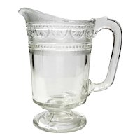 Early American Pattern Glass Triple Mold Juice Pitcher