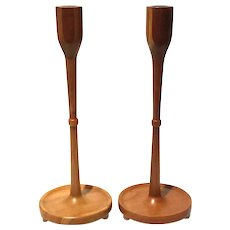German Mid-Century Modern Handcrafted Wood Candlesticks