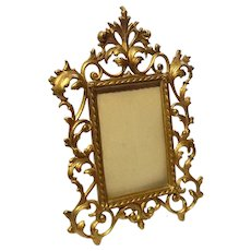 Antique Gilt Metal Picture Frame