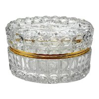 Large French Crystal Jewel Casket With Gilt Metal Mounts