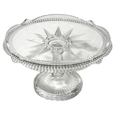 Early American Pattern Glass Starburst Pedestal Cake Stand