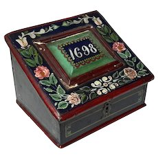 17th Century Painted Oak Bible Box