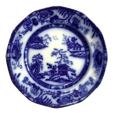 19th Century Flow Blue Plate