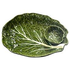 Portuguese Majolica Leaf Chip And Dip Bowl