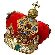 Jeweled Gilt Metal Santos Crown