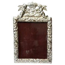 Large Antique Silver Plated Picture Frame
