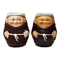 Pair Of Italian Deruta Pottery Franciscan Friar Mugs