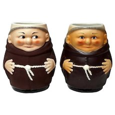 Pair Of Italian Deruta Pottery Franciscan Friar Mugs