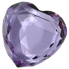 Rosenthal Violet Faceted Crystal Heart Paperweight
