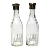 Pair Of 19th Century Cut Glass Bottles With Pewter Lids