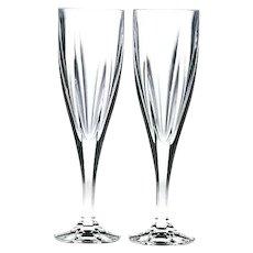 Pair Of Godinger Crystal Legends Champagne Flutes