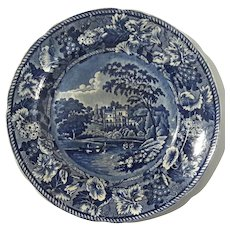 19th Century Staffordshire Flow Blue Scenic Plate