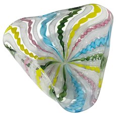 Murano Venetian Latticino Glass Bowl
