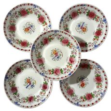 Set Of Ten Antique Floral Porcelain Berry Bowls