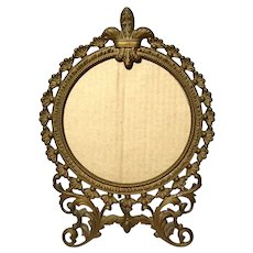 Antique Gilt Metal Fleur-de-lis Picture Frame