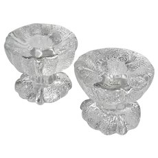 Pair Of Vintage Kosta Sweden Glass Candle Holders